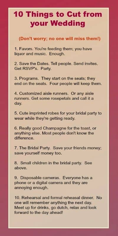 Budget Wedding   Save money list