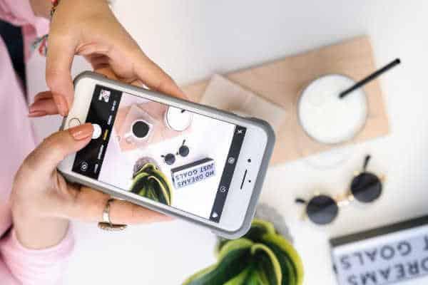 lifestyle blog flatlay image with iphone