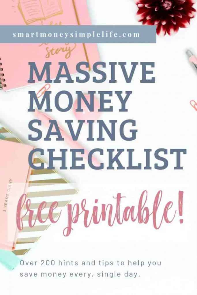 money saving tips free printable checklist pinterest image