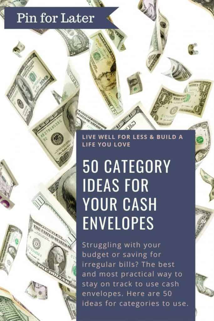 Struggling with your budget or saving for irregular bills? The best and most practical way to stay on track to use cash envelopes. Here are 50 ideas for categories to use.